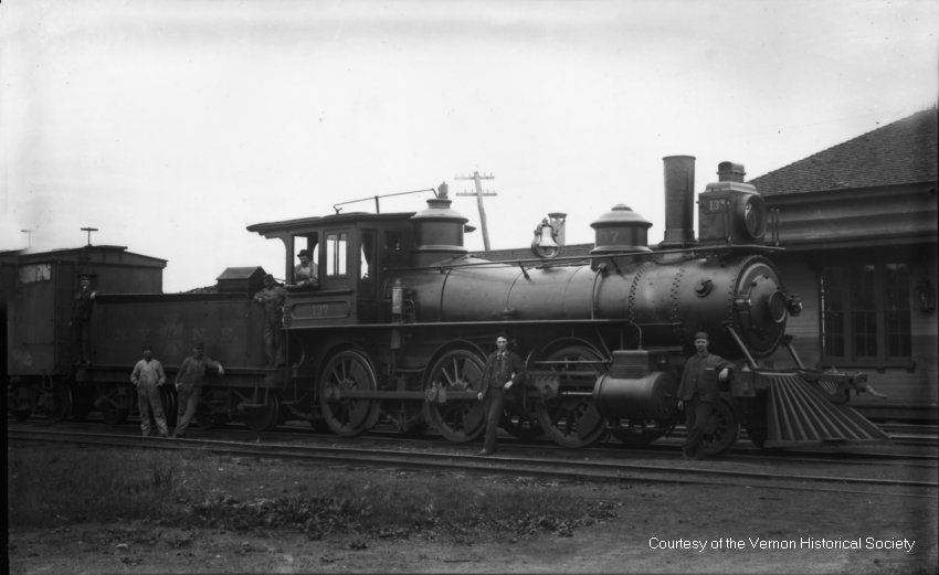 Locomotive and crew at Vernon Depot