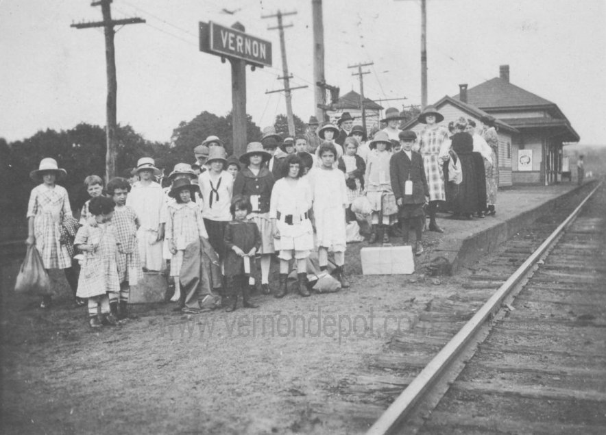 Passengers waiting for a train at Vernon, Ct.